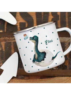 Emaille Becher Tasse Dino mit Schmetterling Name Wunschname Geschenk eb413