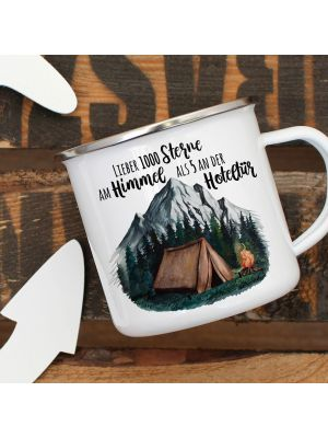Emaille Becher Tasse Zelt campen Wald Lieber 1000 Sterne am Himmel... eb415