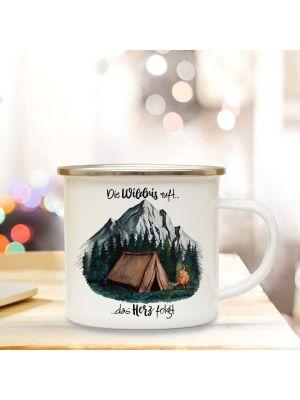 Emaille Becher Tasse Zelt campen Wald Die Wildnis ruft das Herz folgt Geschenk eb416