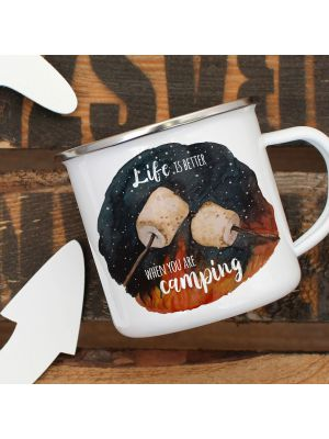 Emaille Becher Tasse Marshmallows Life is better when you are camping Geschenk eb417