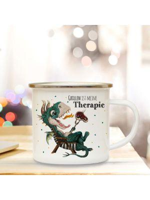 Emaille Becher Tasse kleiner Drache im Liegestuhl Grillen ist meine Therapie eb421