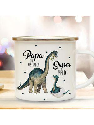 Emaille Becher Tasse Dino Papa mit Junges Papa du bist mein Superheld eb430