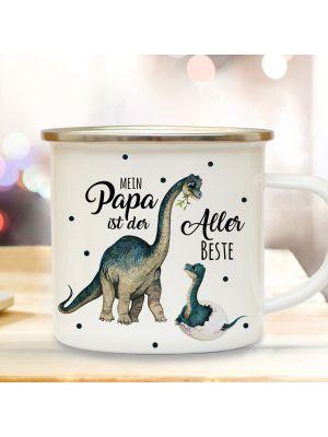 Emaille Becher Tasse Dino Papa mit Junges Mein Papa ist der Allerbeste eb431