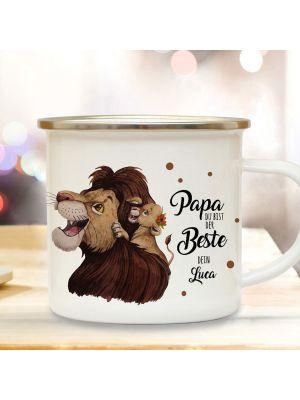 Emaille Becher Tasse Löwe Papa Junges Papa du bist der Beste Dein Name eb434