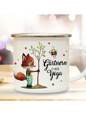 Emaille Becher Tasse Fuchs Hummel Gärtnern ist mein Yoga Kaffeetasse Geschenk eb435