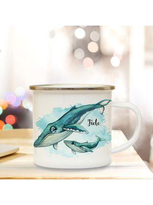 Emaille Becher Camping Tasse Wal mit Kind Junges Name Kaffeetasse eb451