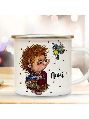 Emaillebecher Becher Tasse Igel mit Vogel & Wunschname Kaffeetasse Winter eb576