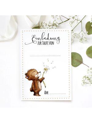 Einladungskarte Karte zur Taufe Bär Pusteblume Klappkarte mit Umschlag ek17