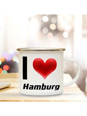 Emaillebecher Kaffeetasse Herz Campingbecher Kaffeebecher mit Motto