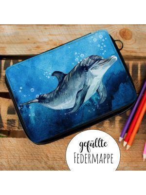 Gefüllte Federtasche mit Delfin Schulstart Federmappe  Delphin mit Wunschnamen fm180