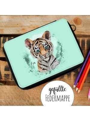 Gefüllte Federtasche Tiger Federmappe Federmäppchen & Wunschnamen fm200