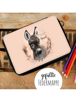 Gefüllte Federtasche Esel Federmappe Federmäppchen & Wunschnamen fm201