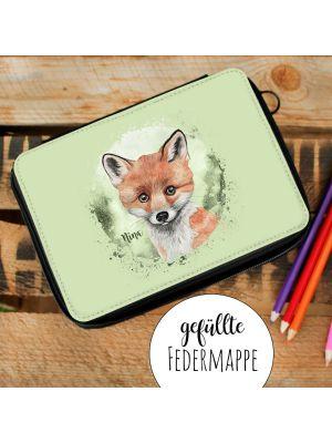 Gefüllte Federtasche Fuchs Schulstart Einschulung Federmappe  & Namen fm203