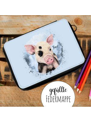 Gefüllte Federtasche Schweinchen Einschulung Federmappe & Wunschnamen fm204