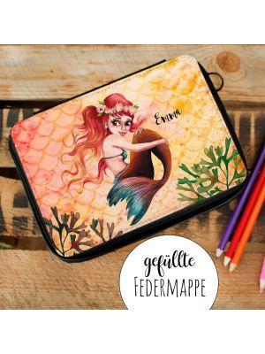 Gefüllte Federtasche Meerjungfrau rot gelb Federmappe Name fm232