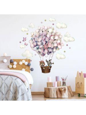 Wandtattoo Heißluftballon Blüten Ballon Häschen Wolken Schmetterlinge Kinderzimmer fw16