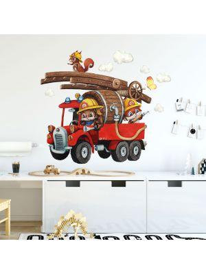 Wandtattoo Feuerwehr Feuerwehrmann Tiere Häschen Wolken Schmetterlinge Kinderzimmer fw23