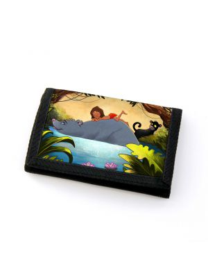 Portemonnaie Geldbörse Dschungeltiere Dschungel mit wildem Jungen Bär und Panther wallet purse billfold jungle animals with wild boy bear and panther gf51