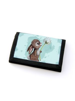 Portemonnaie Geldbörse Brieftasche Hase Häschen mit Pusteblume gf54