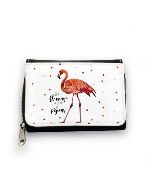 Geldbörse Flamingo mit Punkten und Spruch be a flamingo in a flock of pigeons Wallet flamingo with dots and quote be a flamingo in flock of pigeons gk081