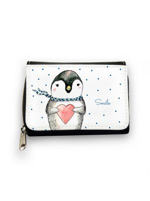 Geldbörse Pinguin smile mit Herz Schal und Punkten Wallet penguin smile with heart scarf and dots gk085