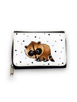 Geldbörse Brieftasche Portemonnaie Waschbär mit Punkten wallet purse billford raccoon with dots gk080