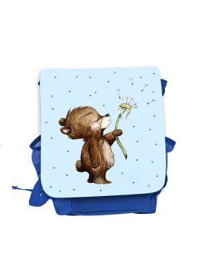 Kinderrucksack Bär Pusteblume blau hellblau Rucksack Tasche Wunschname kgn056