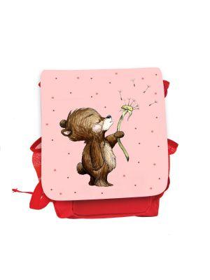 Kinderrucksack Bär Pusteblume rot rosa Rucksack Tasche Wunschname kgn057