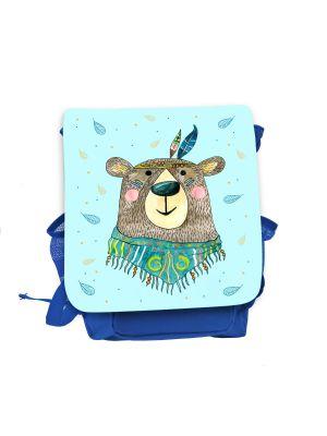 Kinderrucksack Boho Bär Indianer blau hellblau Rucksack Tasche Wunschname kgn058