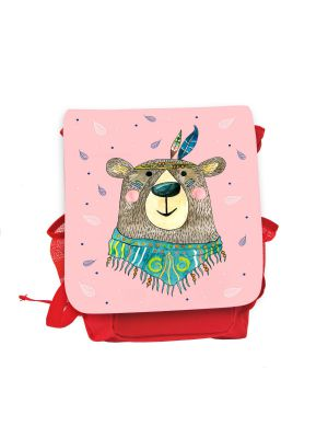 Kinderrucksack Boho Bär Indianer rot rosa Rucksack Tasche Wunschname kgn059