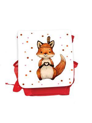 Kinderrucksack Indianer Fuchs Herz rot rosa Rucksack Tasche Wunschname kgn060
