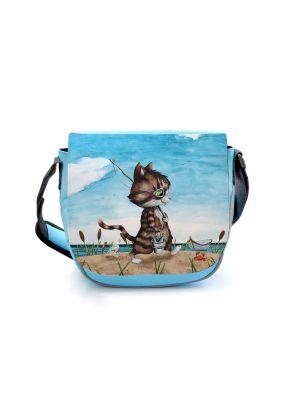 Kindergartentasche Kater Katze Angel angeln Tasche blau Kindertasche Name kgt41