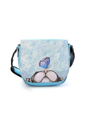 Kindergartentasche Katze mit Schmetterling blau Kindertasche Wunschname kgt45