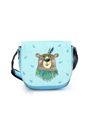 Kindergartentasche Boho Bär Federschmuck Tasche blau   Kindertasche kgt48