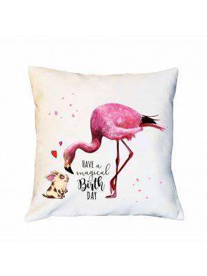Kissen Dekokissen Spruchkissen Flamingo mit Spruch