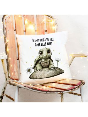 Kissen Schildkröte Mama weiß viel Oma alles inkl Füllung Dekokissen Zierkissen ks223