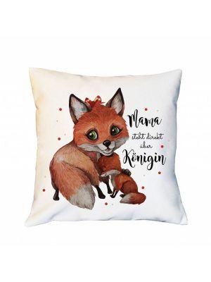 Kissen Fuchs Junges Mama steht über Königin inkl Füllung Dekokissen Zierkissen ks240
