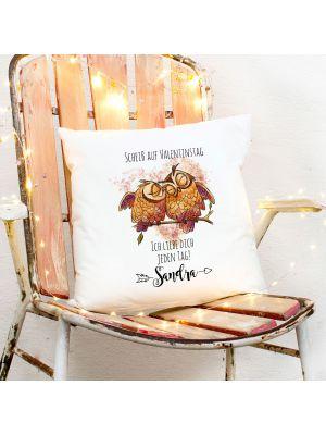 Kissen Eulen Pärchen Scheiß auf Valentinstag  inkl Füllung & Wunschname ks270