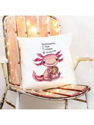 Kissen Axolotl Beziehungsstatus: ich mag Kekse inkl Füllung Dekokissen ks274