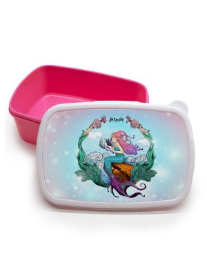 Lunchbox Brotdose rosa Meerjungfrau Muschel auf Wunschname Einschulung LBr12