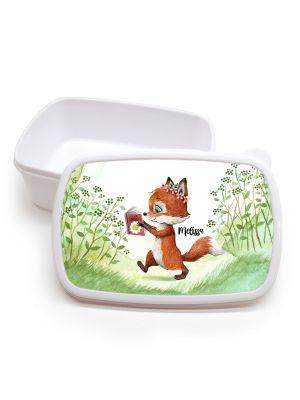 Lunchbox Brotdose weiß Fuchs mit Buch & Wunschname Schulbeginn LBr13