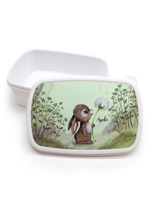 Lunchbox Brotdose weiß Hase Pusteblume im Wald & Wunschname Einschulung LBr14