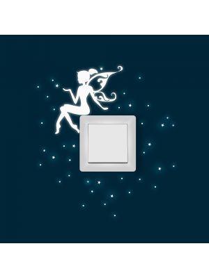 Leuchtsticker fee fluoreszierendes Wandbild Wandsticker Wandaufkleber Lichtschalteraufkleber Lichtschaltersticker wall sticker elf fairy