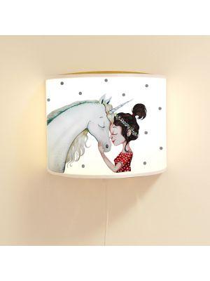 Wandlampe Kinderlampe mit süßen Einhorn & Mädchen Lampe Motivlampe Leselampe Kinderzimmer ls113