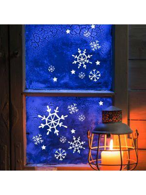 Fensterbild Schneekristalle