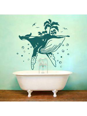 Wandtattoo Wal mit Insel Palmen Luftblasen Möwen Vögel perfekt fürs Badezimmer Wanddeko M2420