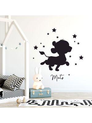 Wandtattoo Löwe Löwenbaby Sterne & Name Kinderzimmer Junge Mädchen M2475