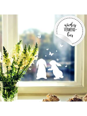 Fensterbild Häschen Hasen -WIEDERVERWENDBAR- Fensterdeko Fensterbilder Osterhasen & Schmetterlinge M2346