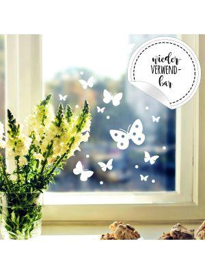 Fensterbild Schmetterlinge Set -WIEDERVERWENDBAR- Fensterdeko Fensterbilder Osterdeko M2348