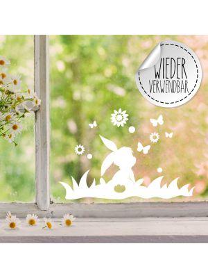 Fensterbild Fensterbilder Hase im Gras Schmetterlinge Blumen wiederverwendbar M2450